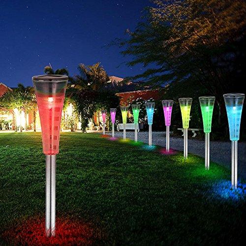 Lampe solaire LED changeur des couleurs inox IP44 jardin DEL ...