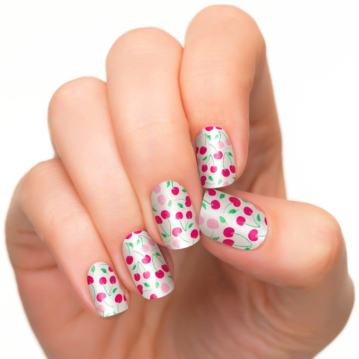 Incoco Nail Polish Strips, Cherries Nail Art, Cherry Jubilee