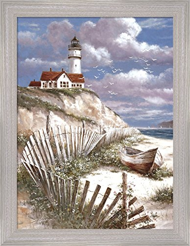 Seascape Lighthouse (Lighthouse with Deserted Canoe by T.C. Chiu Framed Art Print Wall Picture, Oatmeal Frame with Hanging Cleat, 14 x 18 inches)
