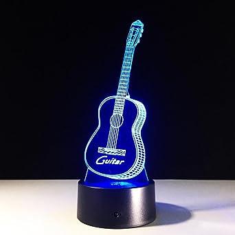 ZQQ 3D LED Luz de la noche Acrílico Colorido Guitarra Óptico Creativo Estéreo Visión Regalo Lámpara