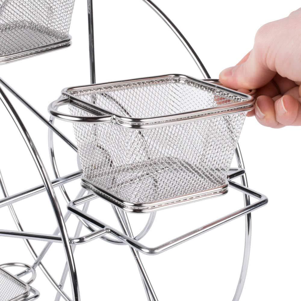G.E.T. Enterprises 4-92065 14.5'' x 7'' Ferris Wheel, 18.5'' Clipper Mill, Metal, Chrome (Metal Basket Sold Separately)