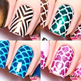Whats Up Nails - Nail Vinyl Stencils Variety Pack 4pcs (X-pattern, Moroccan, Scales, Hearts) for Nail Art Design