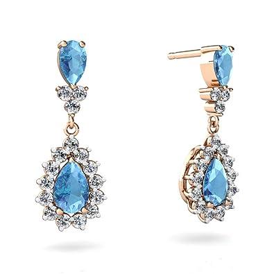3.22 Ct Oval Swiss Blue Topaz 14K Yellow Gold Earrings
