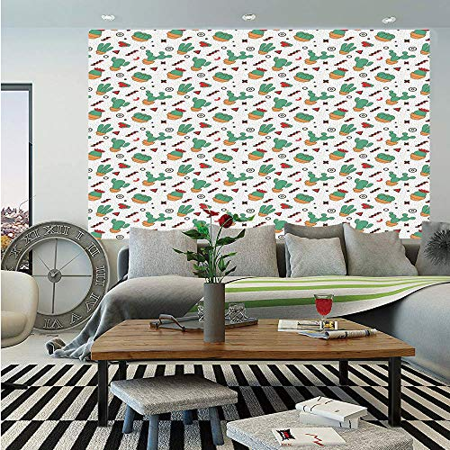 (SoSung Cactus Wall Mural,Dotted Pattern with Cartoon Plants and Herringbone Lines Circles and Triangles Cross Decorative,Self-Adhesive Large Wallpaper for Home Decor 55x78 inches,Multicolor)