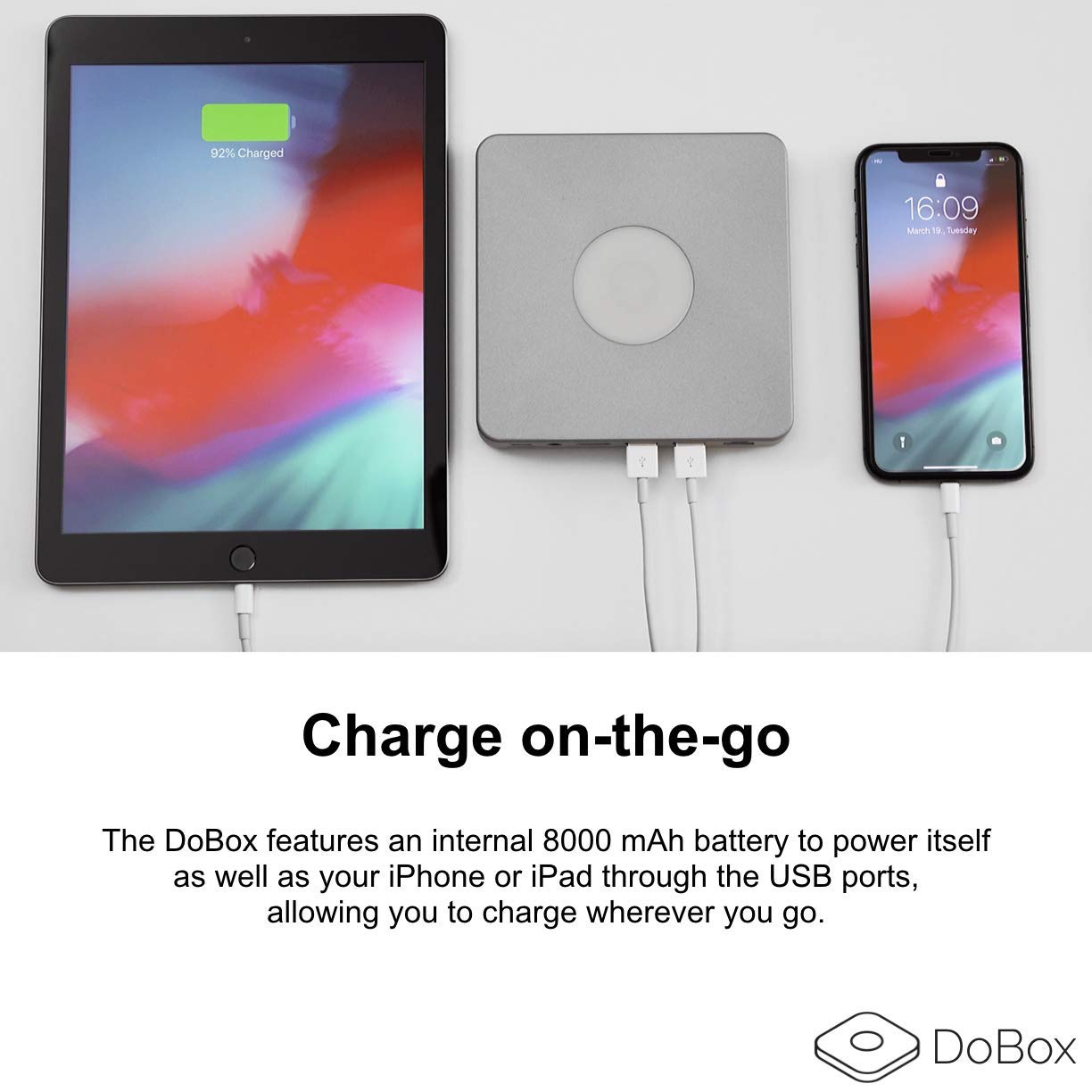 DoBox Portable Wireless Hub for iPhone and iPad. 9-in-1 Wireless Adapter with 32GB Internal Storage, USB-C, Ethernet, 2xUSB, Micro SD, Audio Out, HDMI, Bluetooth and Portable Charger by DoBox (Image #3)