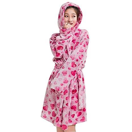 Tina Pijamas de Invierno Mujeres Togas Correas Franela de Manga Larga Sudaderas con Capucha de baño