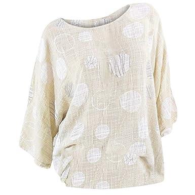 20641dd0083 Women Shirt Plus Size 3 4 Sleeve Round Neck Sexy Polka Dot Print Blouse  Pullover