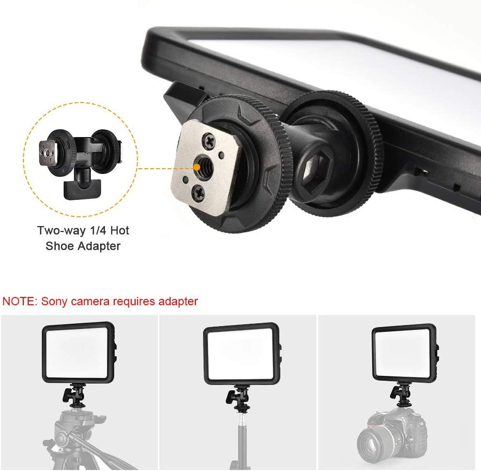 koolehaoda 204 LED Video Fill Light Portable with 1//4 Hot Shoe Adapter 13W 1100LM CRI90 Bi-Color On-Camera Photography Lighting Panel 3300-5600K Brightness Dimmable Compatible for YouTube DSLR Camcord