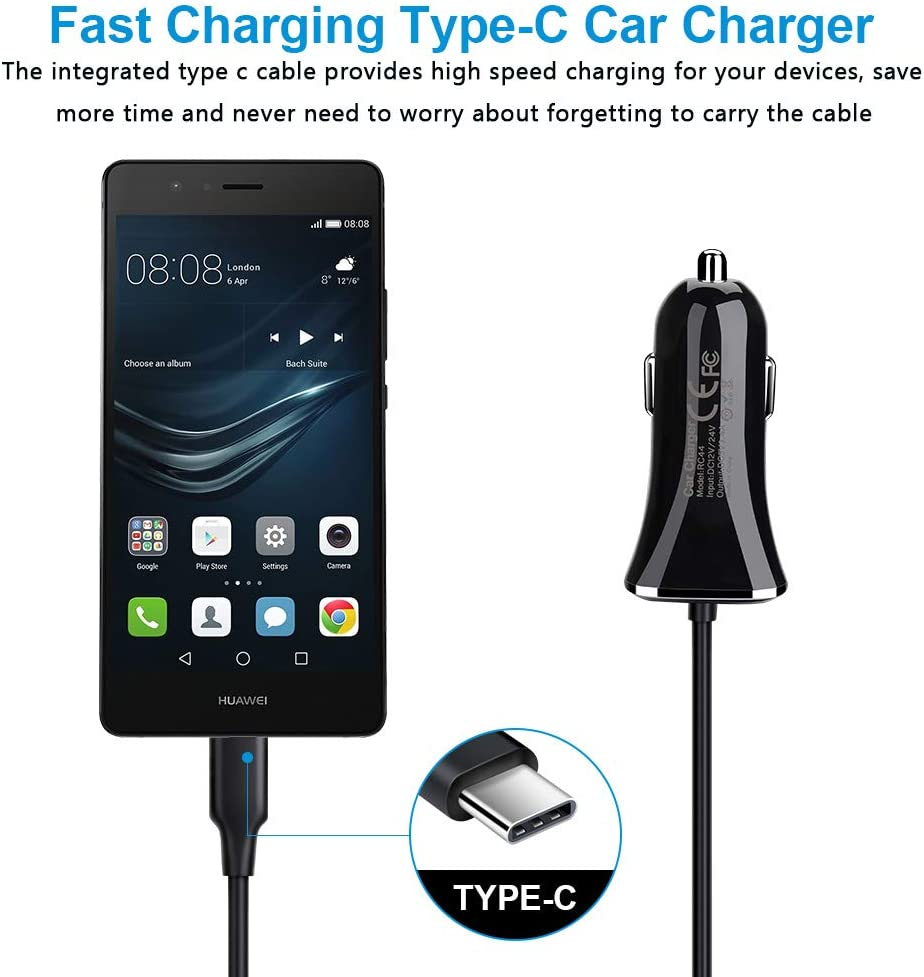 LG Stylo 5 G8 Google Pixel 4 3a XL Type C Car Charger 3.4A Fast Charging USB Car Adapter with 3ft USB C Cable Compatible with Samsung Galaxy S20 S10 S10E Note 10 9 A10e A20 A30 A40 A50 A70 A80 A90