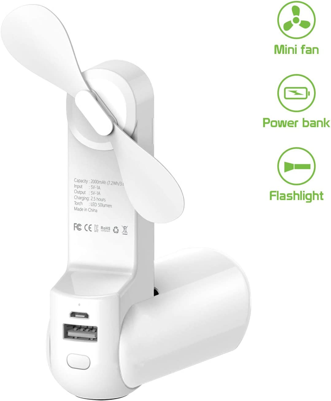 Cellet Foldable 3 in 1 Handheld Portable Mini Air Cooling Fan, Power Bank 2000mAh, and Flashlight. Micro USB Rechargeable 10-20 Hrs. of Battery Life Smart LED Indicators Double Speed (White)