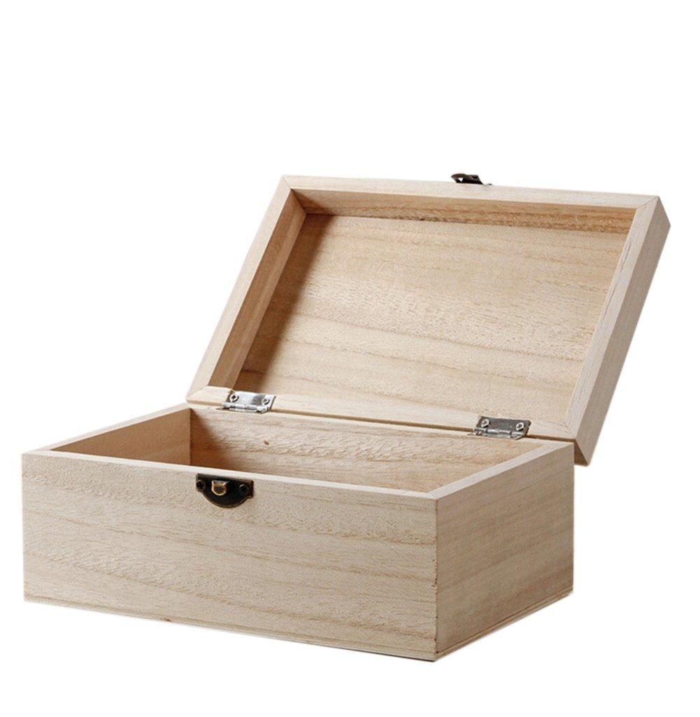 WDOIT, scatola di legno naturale di forma rettangolare con chiusura in rame, scatola portaoggetti per cancelleria, cosmetici, gioielli