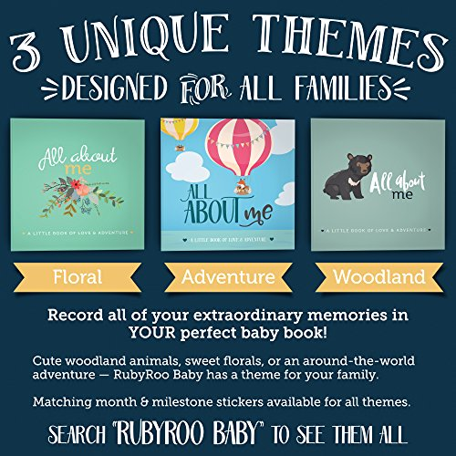 First Year Baby Memory Book + Baby Journal. Modern baby shower gift. Keepsake for new parents to record photos + milestones. Five year scrapbook & picture album for boy + girl babies. (Woodland)
