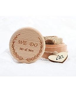 Aytai Boîte à alliances rustique en bois avec étiquette en forme de cœur