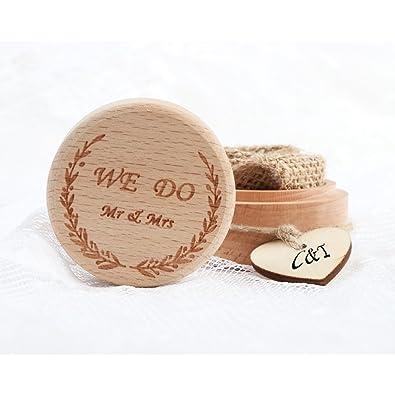 Aytai Caja para anillos de boda con forma de corazón y caja de madera rústica para suministros de boda: Amazon.es: Joyería