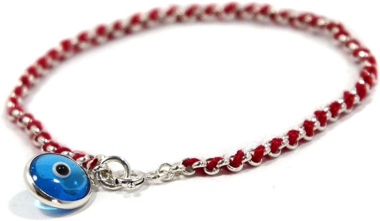 Azul Protección De Ojos Encanto en rojo cadena pulsera en plata de ley para mujer–18cm