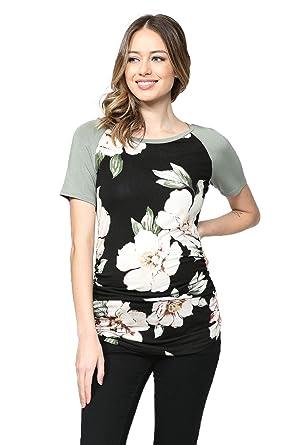 54694440cf9 LaClef Women s Maternity T-Shirts Top with Baseball Raglan (Black Green  Short