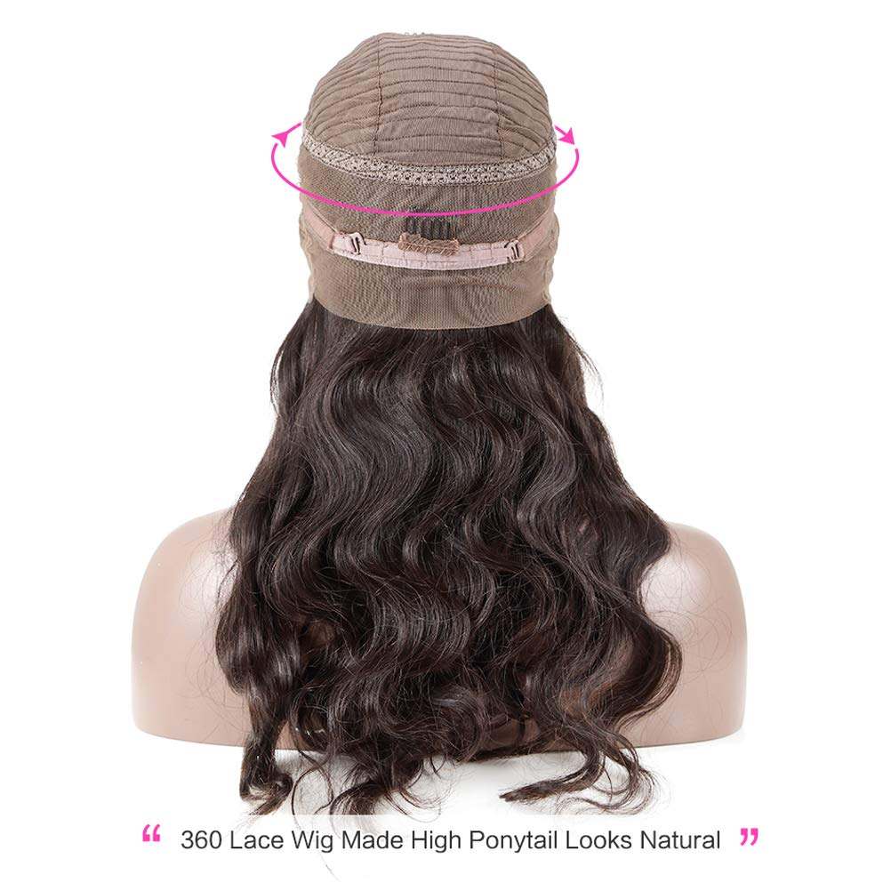 Human Hair 360 Lace Frontal Wigs 14 Inch Brazilian Virgin Lace Front Wigs Human Hair Pre Plucked With Baby Hair For Black Women Natural Black Color(14 inch, 150% Density) by shangzhixiu (Image #3)