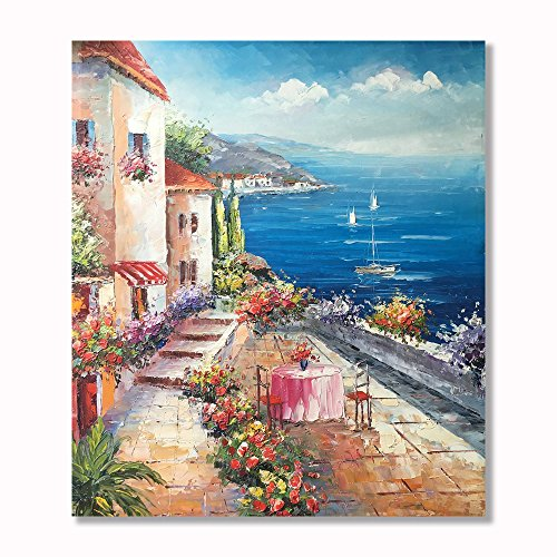Painted Italian (VV Art Italian Coast Town Beach Landscape Hand Painted Oil Painting Wall Art on Canvas Home Decoration Framed Ready to hang)