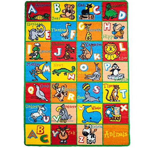 Kids Rug Alphabet Animals Area Rug 5' x 7' Children Area Rug for Playroom & Nursery - Non Skid Gel Backing (59