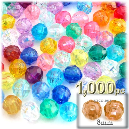 (The Crafts Outlet 1000-Piece Faceted Plastic Transparent Round Beads, 8mm, Multi Mix)