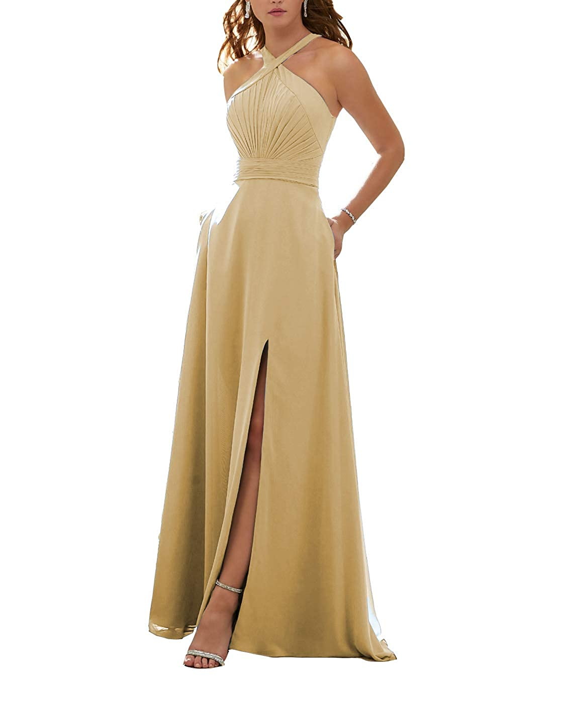 Glod Stylefun Women's Halter Bridesmaid Dresses Slit 2019 Formal Prom Evening Party Gowns with Side Pockets KN010
