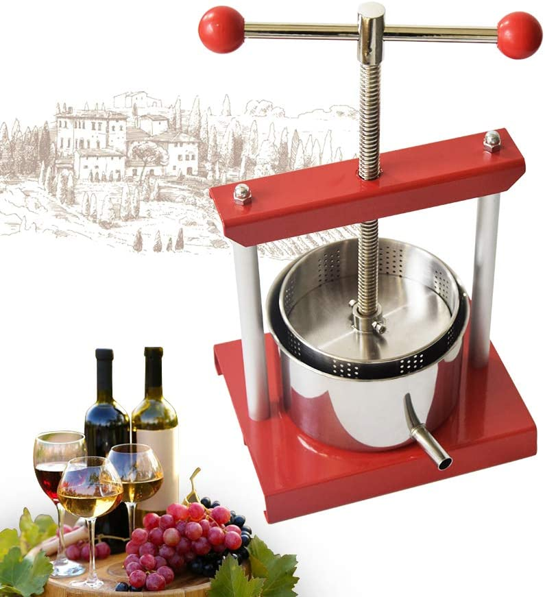 Cheese Tincture Herb Fruit Wine Manual Press -0.53Gallon/ 2 Litre-Power Ball Handle-Stainless Steel & Iron for Juice, Herbal Juice,Cider,Wine,Olive Oil