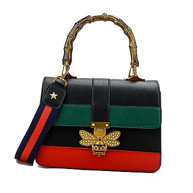 ec7aa56cb3 Amazon.com: Women messenger Bag Women Handbag Bee lock Shoulder bag  crossbody bag Tote Bags with Bamboo handle 2017 NEW: Shoes