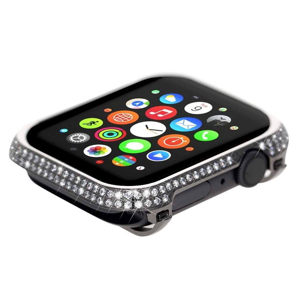 Leotop Compatible with Apple Watch Case 44mm, Metal Bumper Protective Cover Frame Accessories Women Girl Bling Shiny Rhinestone Diamond Compatible iWatch Series 4 (Luxury A+ Black, 44mm)