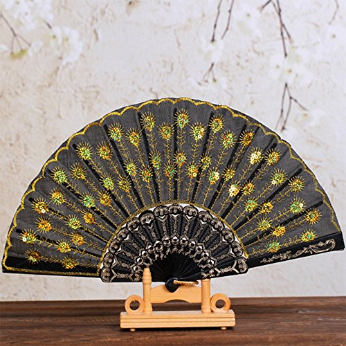 Chinese Dancer Costume (SPHTOEO Embroidered sequins Chinese wind dance fan wing chun dance peacock tail light fan stage performance.yellow fan)