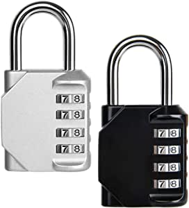 Combination Lock Security Padlock Heavy Duty CELECTIT- [2-Pack] Weather Proof Padlock 4-Digit Dial for School Gym Sports Bag Garage Tool Box Garden Gate Outdoor Shed - Black Silver