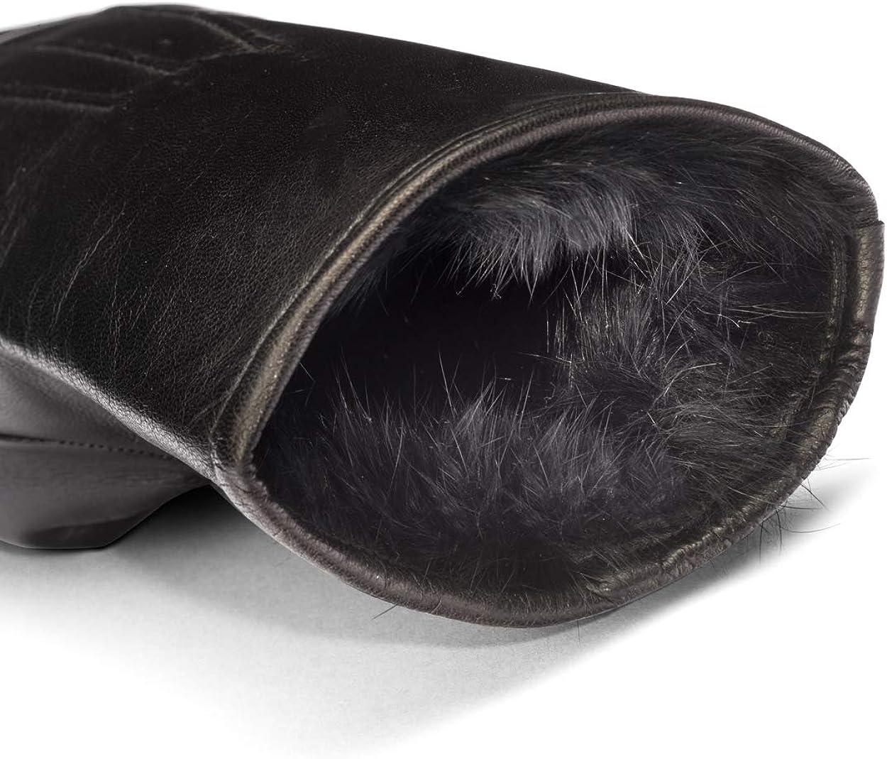 SAGEBROWN Black Mens Rabbit Fur Lined Gloves