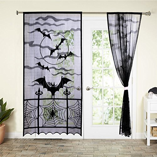 PinnacleT1 Lace Window Curtain - Halloween Window Treatment Panels for Halloween Party Window Decorations