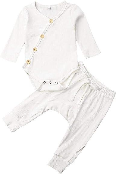 Bebé Recién Nacido Pijama 2 Piezas Conjunto de Ropa para Dormir de Algodón Pelele Unisex de Niños Niñas Pequeños Mameluco/Camiseta de Manga Larga + ...