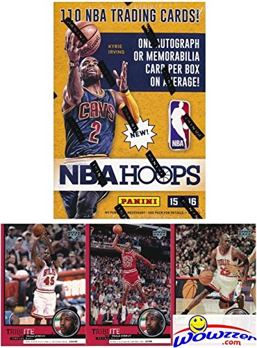 2015/2016 Panini Hoops NBA Basketball HUGE Factory Sealed Blaster Box with 110 Cards & AUTOGRAPH or MEMORABILIA Card! Plus Special BONUS of THREE(3) Vintage Michael Jordan Chicago Bulls Cards!