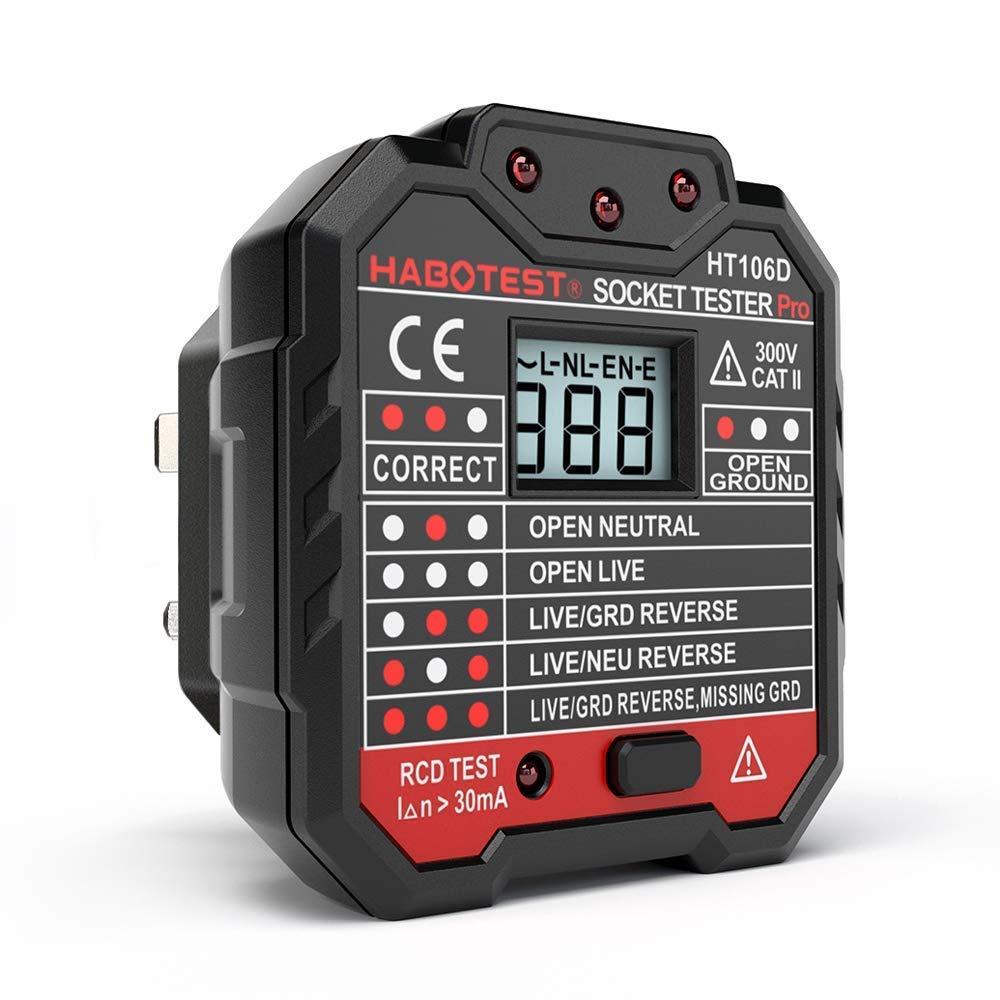 QUILLE testeur de Prise Secteur Prise de Courant testeur avec é cran LCD Neutre Live Terre Fil Test RCD Test –  Prise Britannique