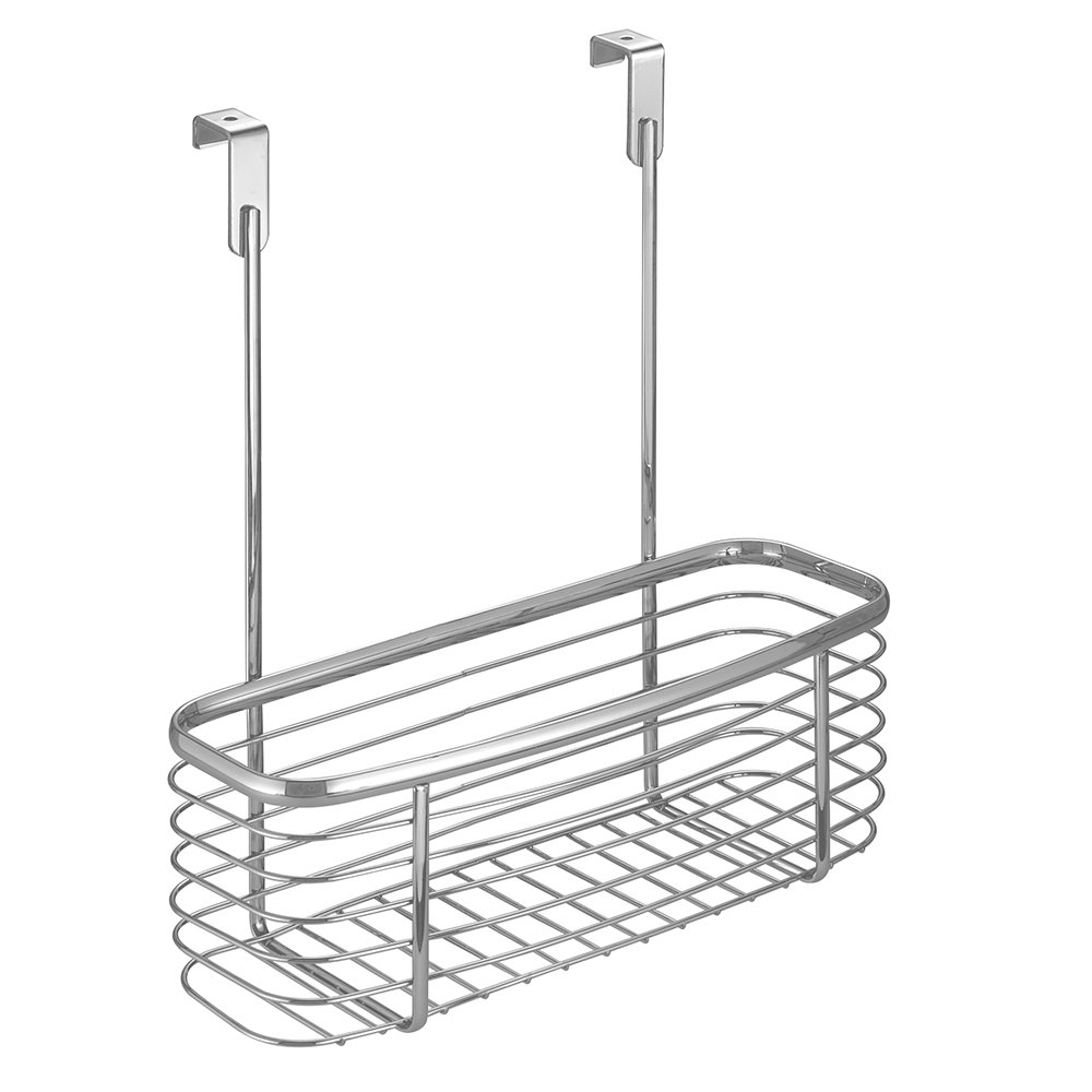 InterDesign Axis Over the Cabinet Kitchen Storage Organizer Basket for Aluminum Foil, Sandwich Bags, Cleaning Supplies - Small, Silver