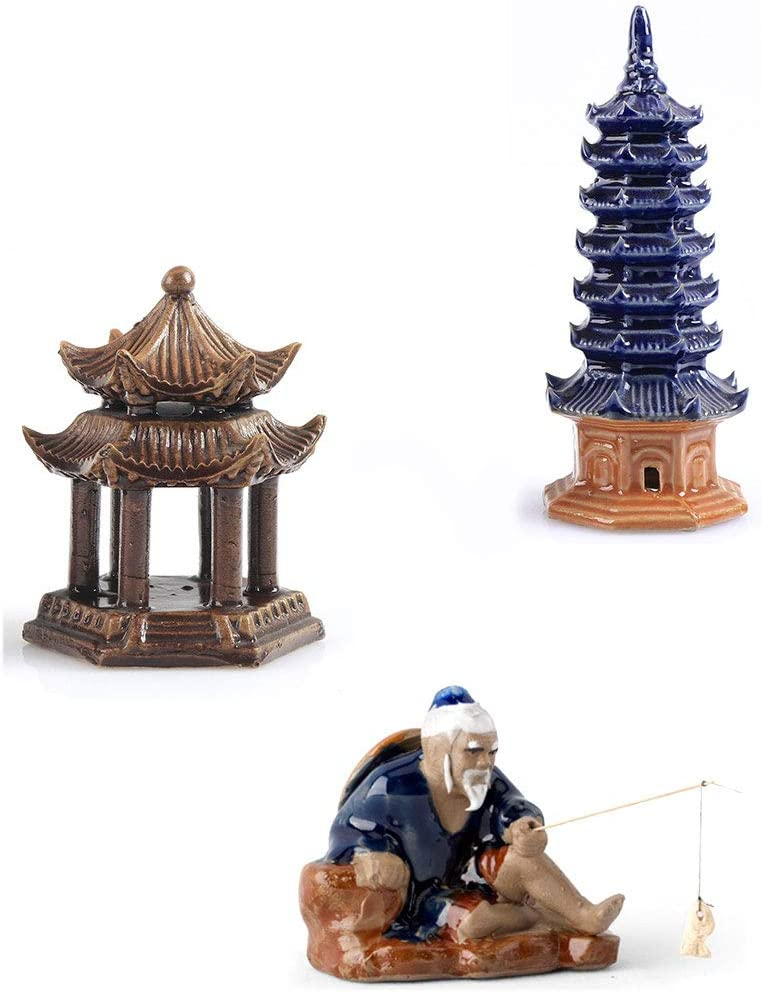 3 Pcs Ceramic Buddhist Pagoda Aquarium Decor, Weighted Pavilion Aquarium Ornament Fishing Man Fish Tank Decoration Human Landscape Aquarium Decoration Accessories Desktop Decor