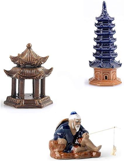 ORIENTAL TOWER fish tank pagoda figurines Golden M Aquarium Ornament
