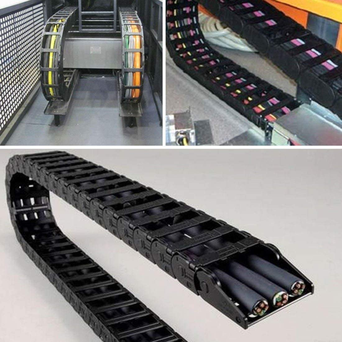 HAILINLING 5559007197 Semi Enclosed Type Plastic Towline Machine Tool Cable Carrier Drag Chain Nested 1M Length 10 x 10MM for The Drag Chain Has Been Widely Used in CNC Machine Tools