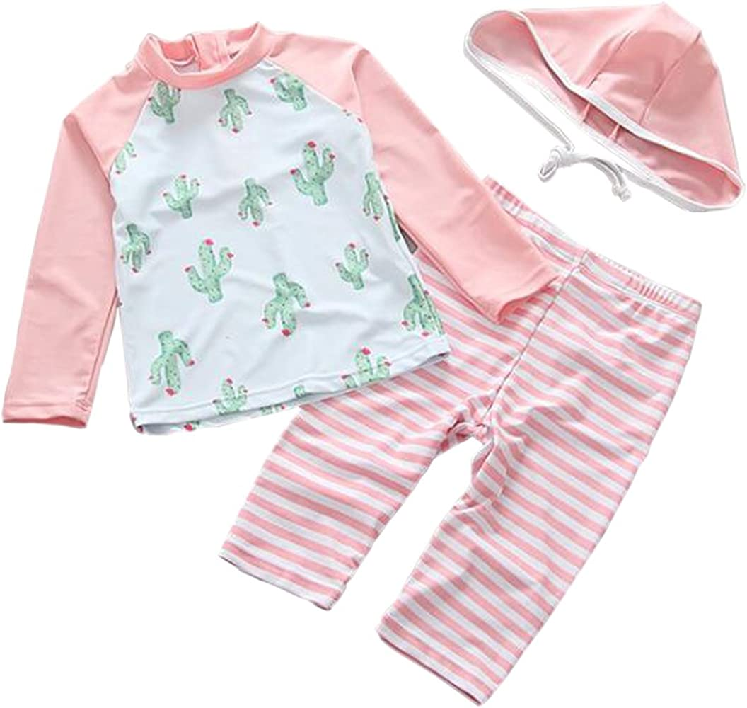 Baby Girls Two Piece Swimsuit Toddler UV Sun Protective Long Sleeve Bathing Suit Surfing Suit UPF 50+
