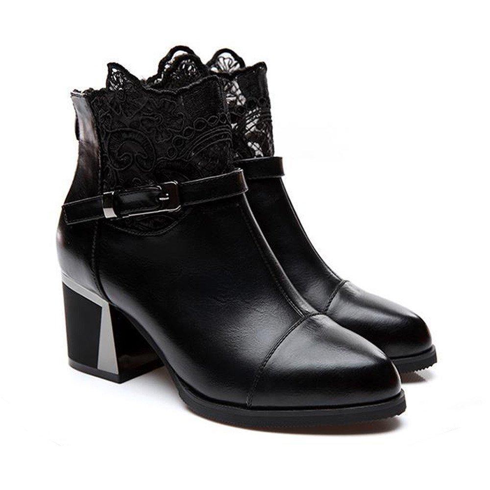 YiYLunneoBotas Mujer Invierno Verdes Zapatos de Tacón Alto con Punta Redonda Cuero para Botines Dobdos Mantener CáLidas AlgodóN CN 35-40: Amazon.es: Ropa y ...