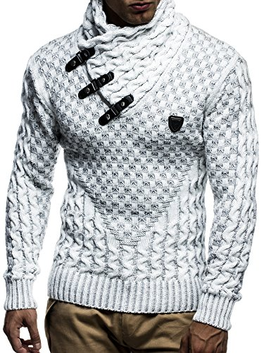 Leif Nelson LN5255 Men's Pullover with Faux Leather Accents; Size US - XL/EU - XXL, Ecru Grey ()