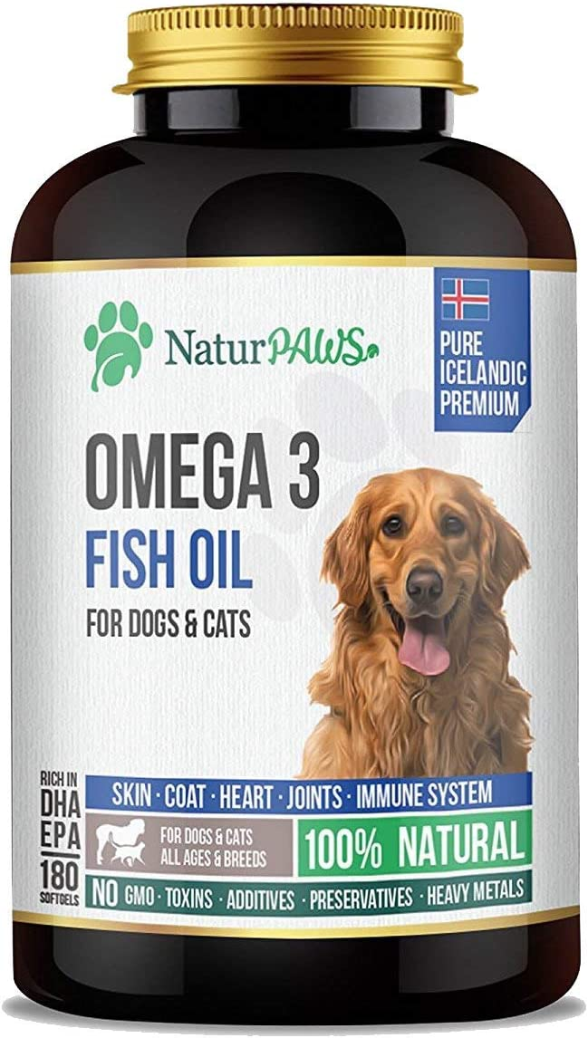 NaturPAWS Omega 3 Fish Oil Supplement for Dogs and Cats - 1000 mg Pure DHA and EPA Omegas - Supports Healthy Coat and Skin, Heart, Immune System, Joints and Hip - 180 softgels