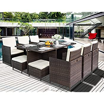 Leisure Zone 11 Piece Outdoor PE Rattan Wicker Patio Dining Table Set  Garden Outdoor Patio Furniture Set (11 Piece, Brown)