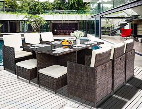 Leisure Zone 11-Piece Outdoor PE Rattan Wicker Patio Dining Table Set Garden Outdoor Patio Furni ...