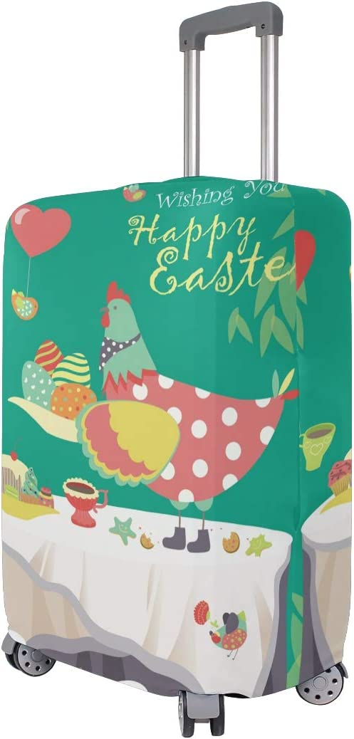 FOLPPLY Happy Easter Rooster Luggage Cover Baggage Suitcase Travel Protector Fit for 18-32 Inch