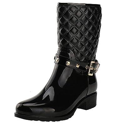 AONEGOLD Stivali di Gomma Donna Pioggia Impermeabile Alti Wellington Boot Rain Boot Giardino Stivali