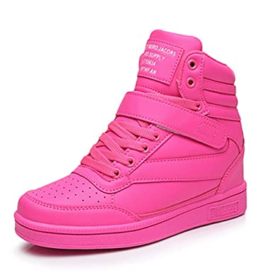 f4cd1b1e8a64 Image Unavailable. Image not available for. Color  UBFEN Women Shoes Hidden  Wedges 7cm Ankle Boots Fashion Sneaker High Top Bootie Flats Platform Casual