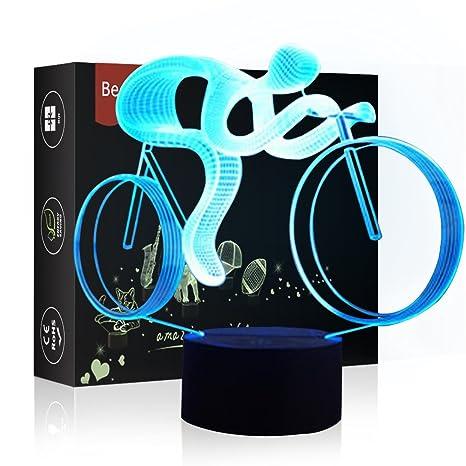 Luz de Noche LED Ilusión 3D Lámpara de Mesa de Cabecera 7 colores Cambiando la iluminación