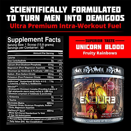 ENDUR3 Intra Workout BCAA Supplement | 4:1:1 Ratio of Trademarked Amino Acid Blend at Clinical Dosage | Best Drink for Endurance & Recovery | 30 Servings (Unicorns Blood) by Olympus Labs (Image #1)